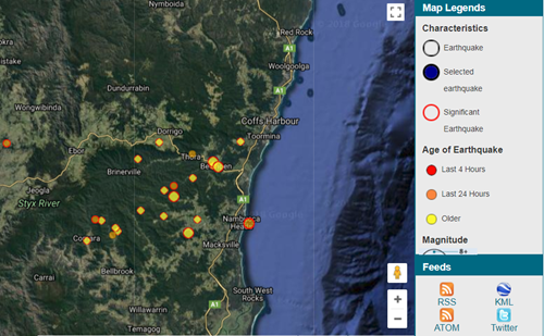Earthquakes felt on mid north coast nsw state emergency service image below shows a screenshot of recent earthquakes orange and yellow dots courtesy of geoscience australia gumiabroncs Choice Image