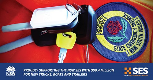 NSW Government proudly supporting the NSW SES with $56.4 million for new trucks, boats and trailers image