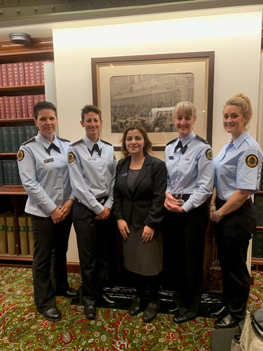 NSW SES Wingecarribee Unit volunteers win Highly Commended in the Resilient Australia Awards, with NSW SES Deputy Commissioner Fatima Abbas.